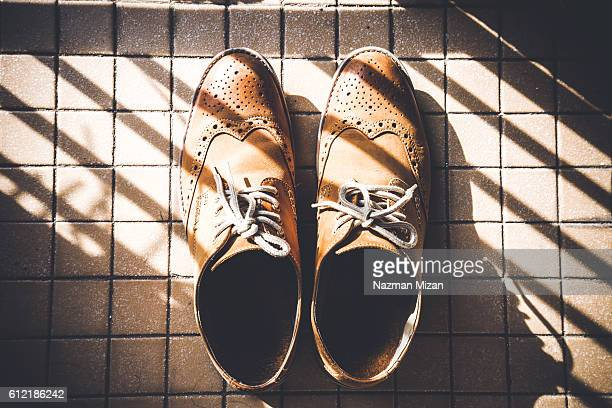 A pair of shoes under a pattern of shadow.