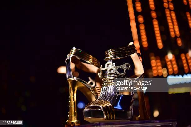 A pair of shoes worth 199 million US dollars are seen during the launch presentation at the Dubai Marina on October 11 2019 in Dubai The Moon Star...