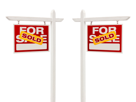 Pair of Sold For Sale Real Estate Signs, Clipping Path 180968997