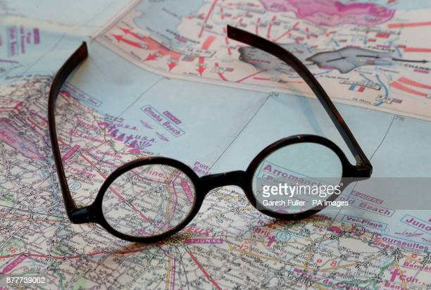 Pair of tortoiseshell spectacles made for Winston Churchill by C. W. Dixey and Sons before they are offered for sale in a Catherine Southon...