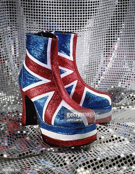 Pair of Union Jack platform boots, close-up