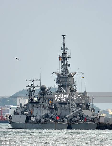 A pair of USmade Taiwanese navy ships are seen docked at the naval base in northern Keelung on December 17 2015 China said December 17 it had...