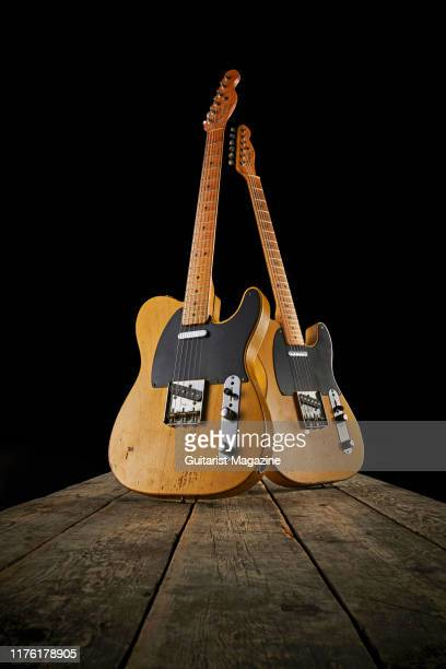 A pair of vintage 1950s Fender electric guitars including a 1952 Telecaster and 1950 Broadcaster taken on March 5 2019