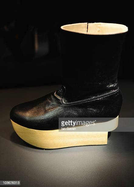 A pair of Vivienne Westwood designed Rocking Horse ankle boots from 1988 are displayed prior to 'Vivienne Westwood Shoes An Exhibition 1973 2010' at...