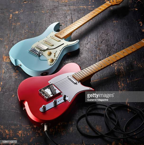 A pair of Vola electric guitars including a Vola Oz 22 MF with a Daphne Blue finish and a Vola Vasti with a Candy Apple Red finish taken on May 22...