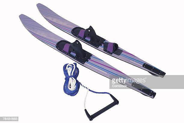 Pair of water-skis and rope