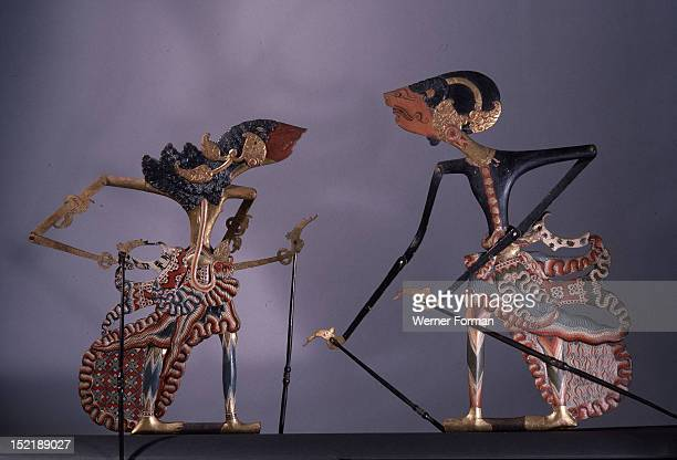 A pair of wayang kulit shadow puppet used in popular all night performances usually based on ancient Hindu epics such as the Ramayana Indonesia...
