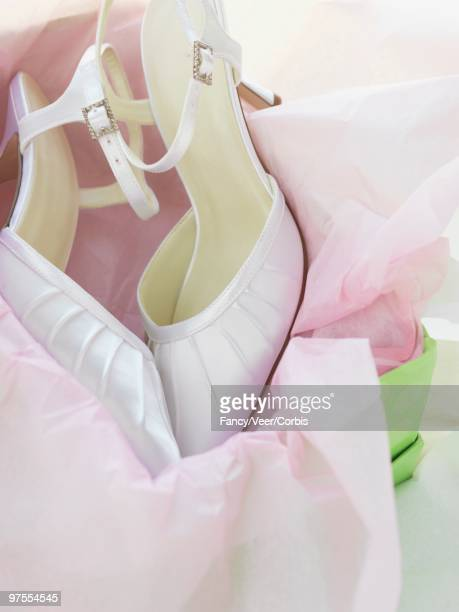 pair of wedding shoes - white satin stock photos and pictures