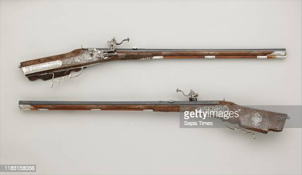 Pair of Wheellock Rifles Made for Emperor Leopold I circa 167080 Prague Bohemian Prague Steel silver wood L of each 43 3/8 inches L of each barrel 32...