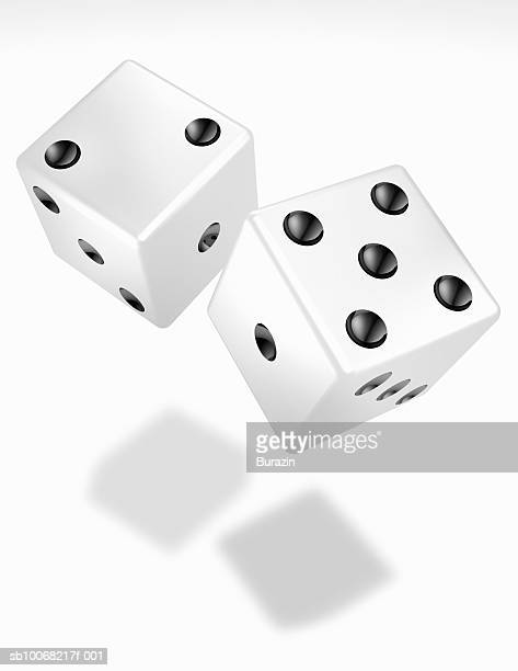Pair of white dice for on white background