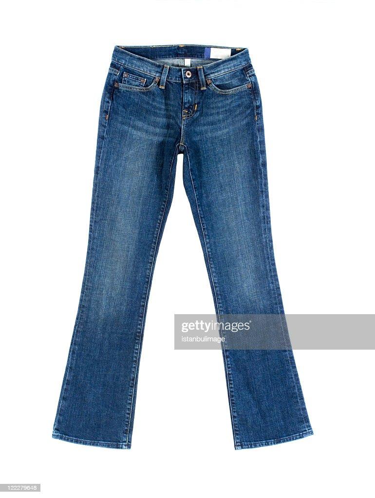 Pair of women's blue denim jeans : Stock Photo