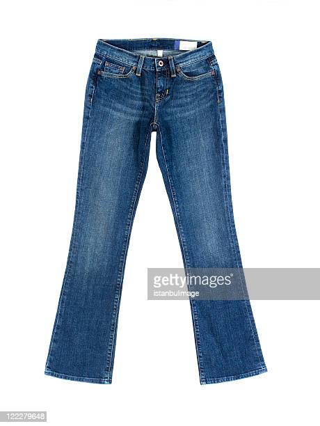 pair of women's blue denim jeans - jeans stock photos and pictures