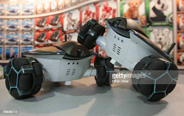 A pair of WowWee Rovio WiFi robots are displayed at the 2008 International Consumer Electronics Show at the Sands Expo and Convention Center January...