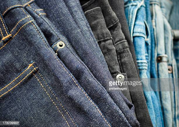 Pairs of  blue jeans