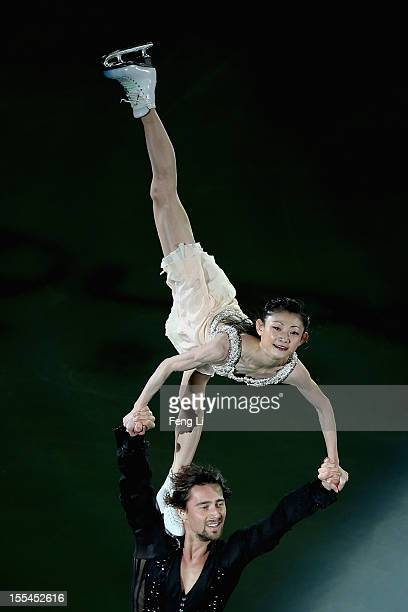 Pairs silver medalists Yuko Kavaguti and Alexander Smirnov of Russia perform during Cup of China ISU Grand Prix of Figure Skating 2012 at the...