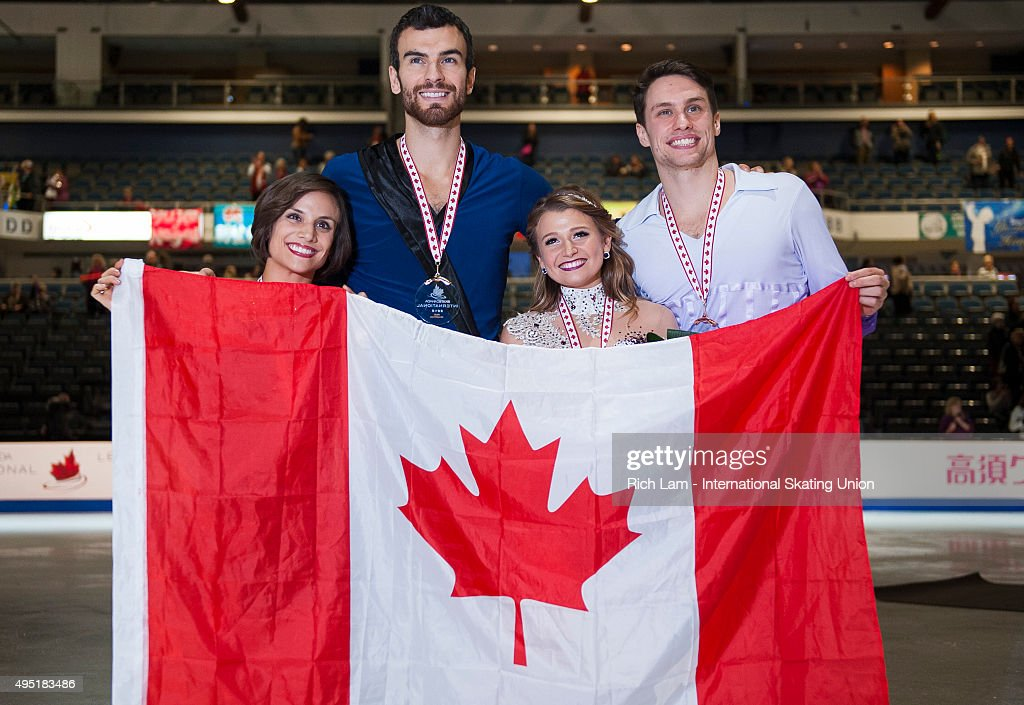 Pairs winner Meagan Duhamel and Eric Radford of Canada (left) poses a for a photo with third place Kirsten Moore-Towers and Michael Marinaro of Canada on day two of Skate Canada International ISU Grand Prix of Figure Skating, October, 31, 2015 at ENMAX Centre in Lethbridge, Alberta, Canada.