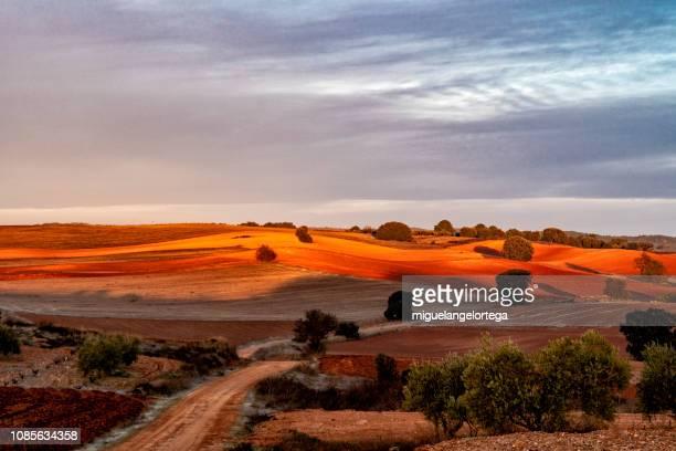 paisaje de invierno al amanecer - castilla la mancha fotografías e imágenes de stock