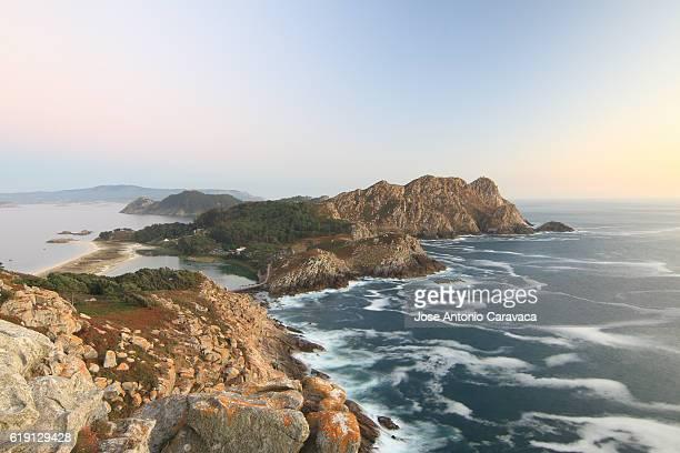 Paisaje de las Islas Cíes desde el Mirador. Landscape of Islas Cíes from Mirador