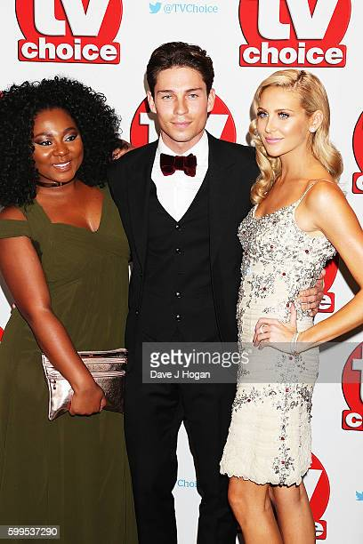 Paisley Billings Joey Essex and Stephanie Pratt arrive for the TVChoice Awards at The Dorchester on September 5 2016 in London England