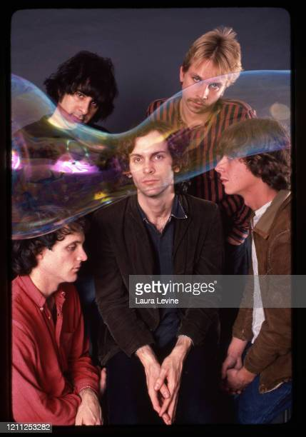 Paisley Underground rock group Rain parade Matt Piucci, Eddie Kalwa, Will Glenn, David Roback and Steven Roback pose for a portrait in 1983 in New...