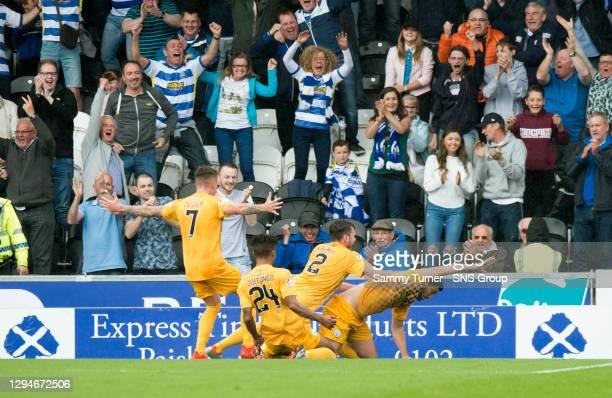 Thomas O'Ware celebrates scoring Morton's opening goal