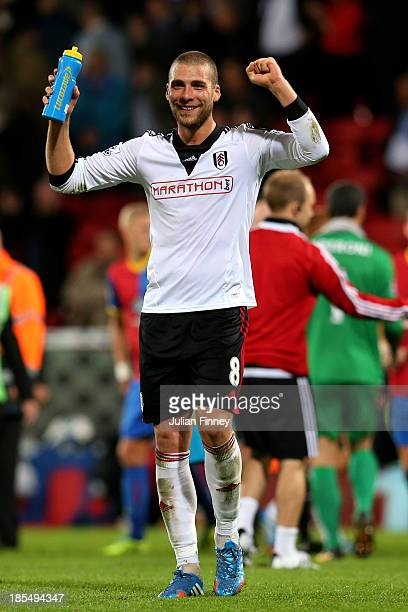 Pajtim Kasami lof Fulham acknowledges the travelling fans following their team's 41 victory during the Barclays Premier League match between Crystal...