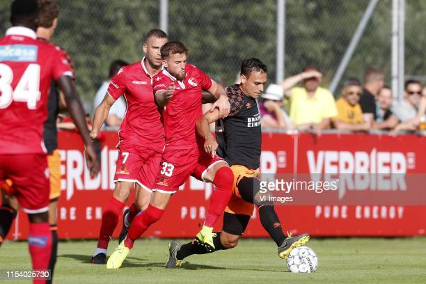 , Pajtim Kasami of FC Sion, Emir Lenjani of FC Sion, Trent Sainsbury of PSV during the Pre-season Friendly match between FC Sion v PSV Eindhoven at...