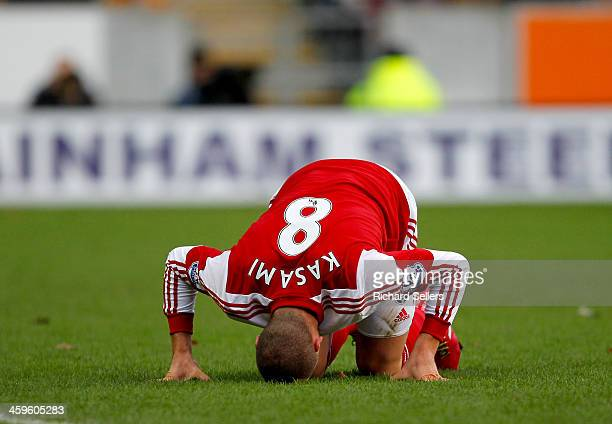 Pajtim Kasami of Fulham buries his head during the Barclays Premier League match between Hull City and Fulham at KC stadium on December 28 2013 in...