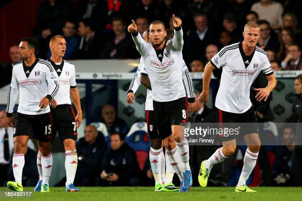 Pajtim Kasami of Fulham celebrates after scoring a goal to level the scores at 11 during the Barclays Premier League match between Crystal Palace and...