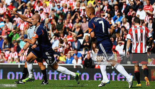 Pajtim Kasami of Fulham celebrates his goal during the Barclays Premier League match between Sunderland and Fulham at the Stadium of Light on August...