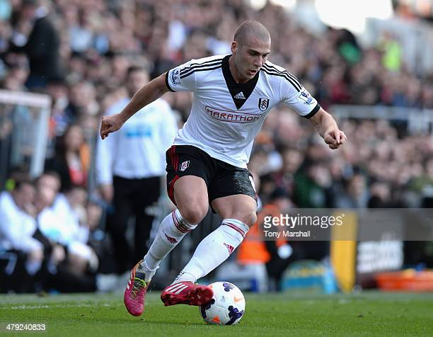 Pajtim Kasami of Fulham during the Barclays Premier League match between Fulham and Newcastle United at Craven Cottage on March 15 2014 in London...
