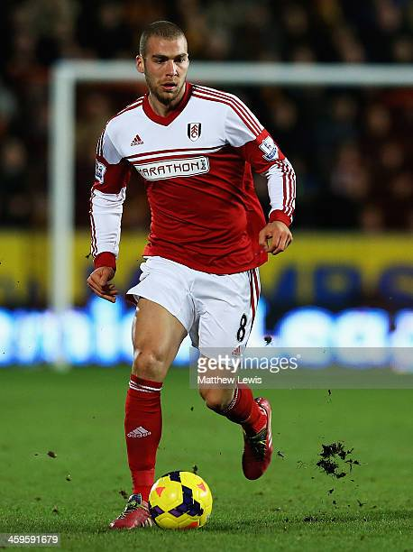 Pajtim Kasami of Fulham in action during the Barclays Premier League match between Hull City and Fulham at KC Stadium on December 28 2013 in Hull...