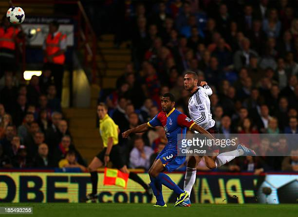Pajtim Kasami of Fulham scores the opening goal during the Barclays Premier League match between Crystal Palace and Fulham at Selhurst Park on...