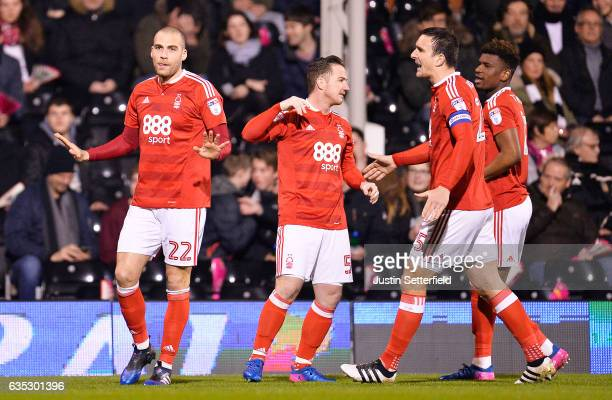 Pajtim Kasami of Nottingham Forest celebrates scoring the 1st goal during the Sky Bet Championship match between Fulham and Nottingham Forest at...