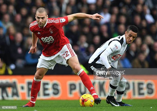 Pajtim Kasami of Nottingham Forest is closed down by Tom Ince of Derby County during the Sky Bet Championship match between Derby County and...