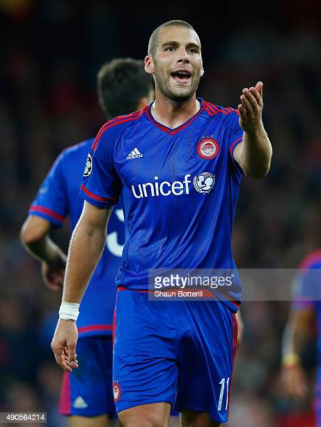 Pajtim Kasami of Olymiacos FC during the UEFA Champions League Group F match between Arsenal FC and Olympiacos FC at the Emirates Stadium on...