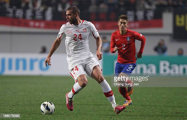 Pajtim Kasami of Switzerland controls the ball during the international friendly match between South Korea and Switzerland at the Seoul World Cup...