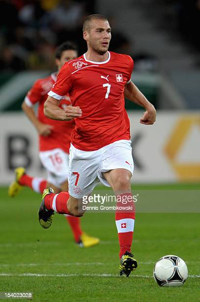 Pajtim Kasami of Switzerland controls the ball during the Under 21 European Championship Play Off match between Germany and Switzerland at BayArena...