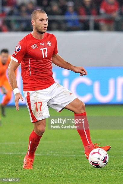 Pajtim Kasami of Switzerland in action during the UEFA EURO 2016 qualifier between Switzerland and San Marino at AFG Arena on October 9 2015 in St...