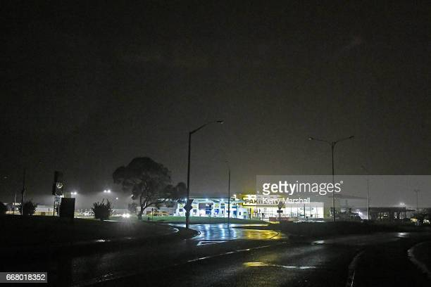 Pak 'n Save Tamatea runs on an emergency generator as power is out to the entire suburb during high winds as Cyclone Cook passes through on April 13...