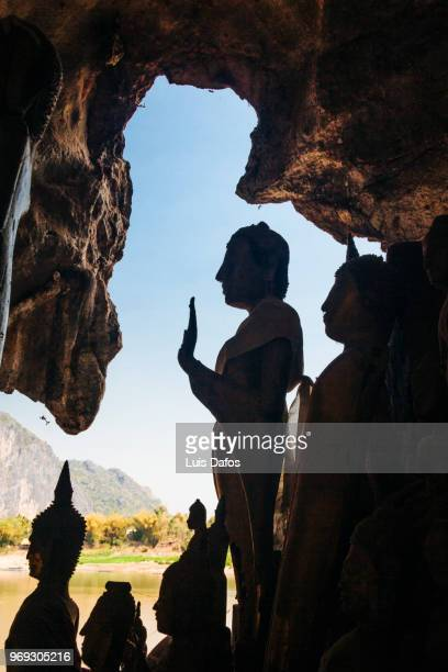 pak ou caves - theravada stock pictures, royalty-free photos & images