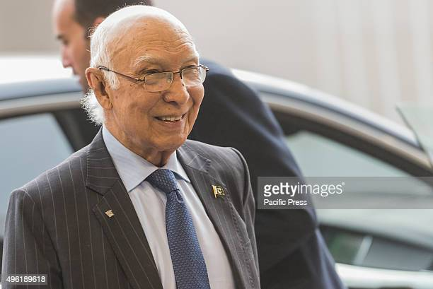 Pakistan Advisor to Prime Minister on Foreign Affairs Sartaj Aziz arrives for the 12th AsiaEurope Foreign Ministers Meeting in Luxembourg City for...