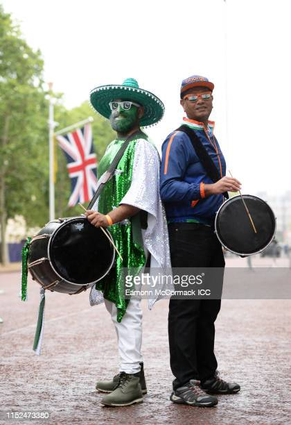 Pakistan and India fan pose for a photo during the ICC Cricket World Cup 2019 Opening Party at The Mall on May 29 2019 in London England