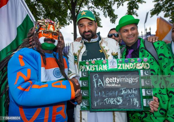 Pakistan and India fans meet before the Group Stage match of the ICC Cricket World Cup 2019 between Pakistan and India at Old Trafford on June 16,...