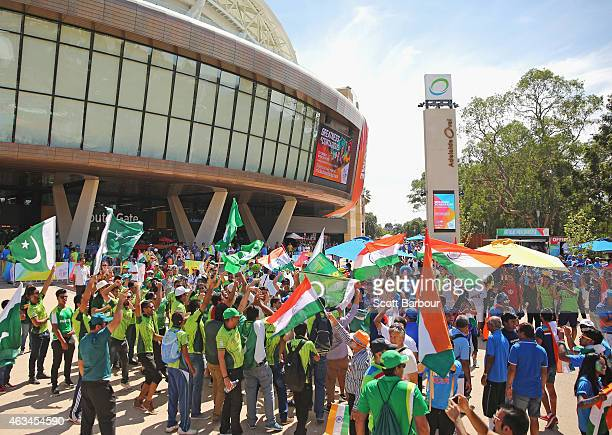 Pakistan and India supporters wave their flags outside of the ground during the 2015 ICC Cricket World Cup match between India and Pakistan at the...