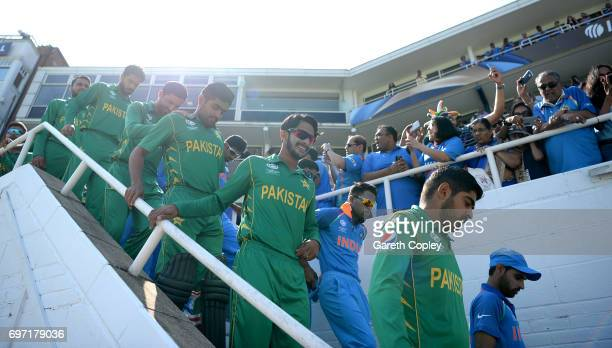 Pakistan and India walk out ahead of the ICC Champions Trophy Final between India and Pakistan at The Kia Oval on June 18 2017 in London England
