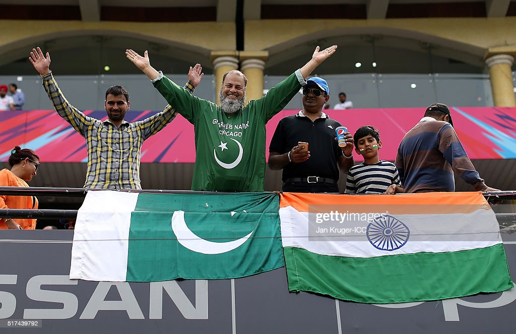 Pakistan and Indian fans enjoy the atmosphere during the ICC World Twenty20 India 2016 Super 10s Group 2 match between Pakistan and Australia at the..