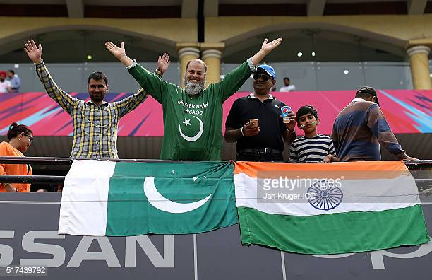 Pakistan and Indian fans enjoy the atmosphere during the ICC World Twenty20 India 2016 Super 10s Group 2 match between Pakistan and Australia at the...