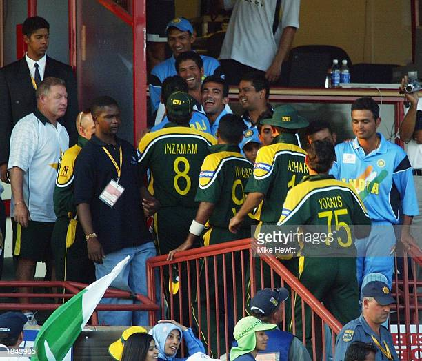 Pakistan and Indian players shake hands after the ICC Cricket World Cup 2003 Pool A match between India and Pakistan held on March 1 2003 at the...