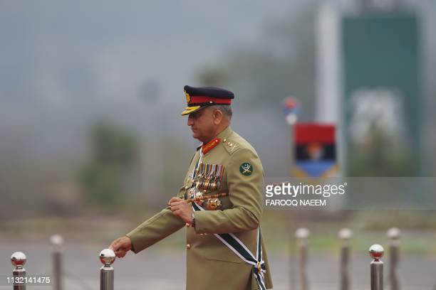 Pakistan Army Chief General Qamar Javed Bajwa arrives to attend the Pakistan Day parade in Islamabad on March 23 2019 Pakistan National Day...